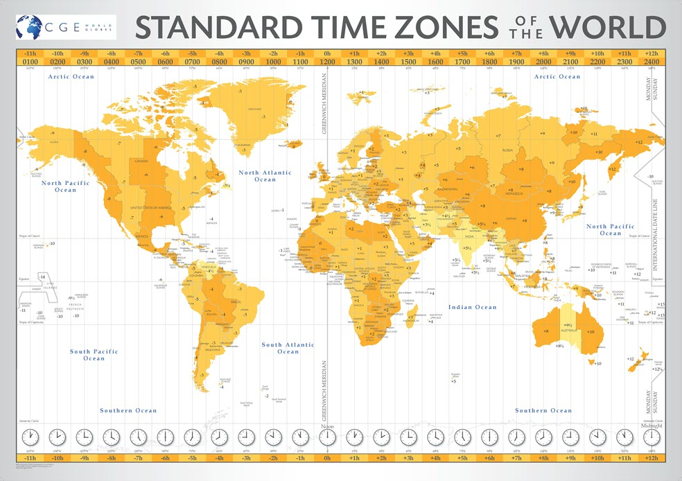 Bespoke Map World Time Zone